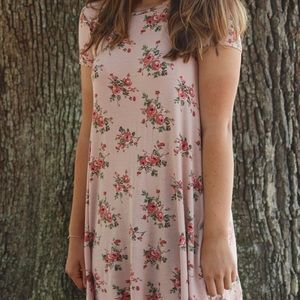 Pink floral F21 dress with semi-open back